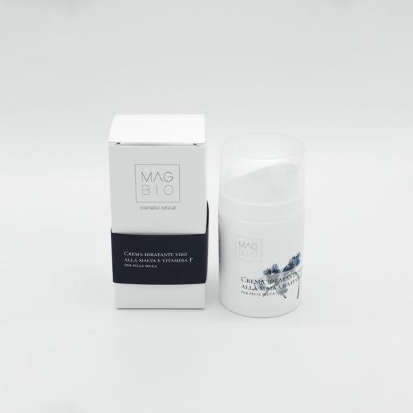 Crema idratante viso alla malva e vitamina F per pelle secca